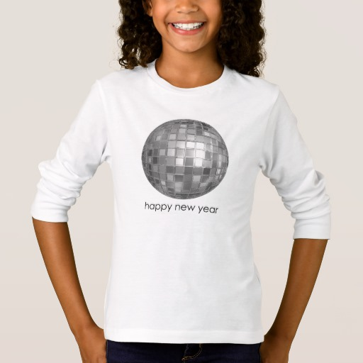 Happy New Year Disco Ball Girls' Basic Long Sleeve T-Shirt