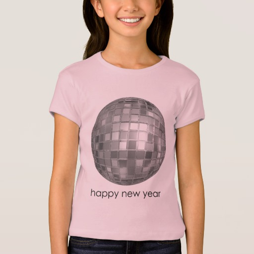 Happy New Year Disco Ball Girls' Bella+Canvas Fitted Babydoll T-Shirt
