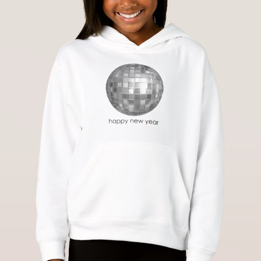 Happy New Year Disco Ball Girls' Fleece Pullover Hoodie