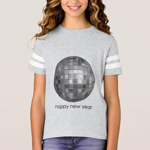 Happy New Year Disco Ball Girls' Football Shirt