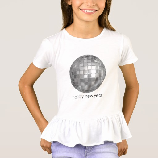 Happy New Year Disco Ball Girls' Ruffle T-Shirt
