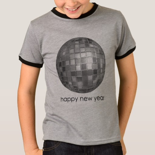 Happy New Year Disco Ball Kids' Basic Ringer T-Shirt
