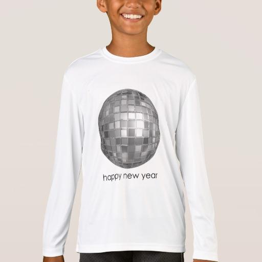 Happy New Year Disco Ball Kids' Sport-Tek Competitor Long Sleeve T-Shirt