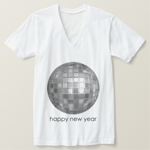 Happy New Year Disco Ball Men's American Apparel Fine Jersey V-neck T-Shirt