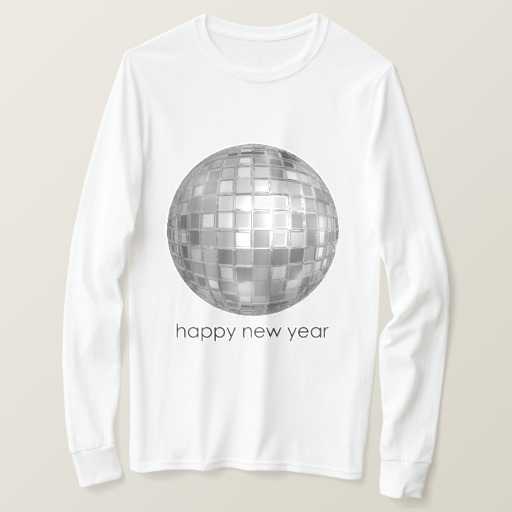Happy New Year Disco Ball Men's Basic Long Sleeve T-Shirt