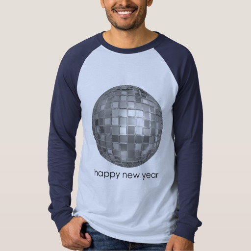Happy New Year Disco Ball Men's Canvas Long Sleeve Raglan T-Shirt