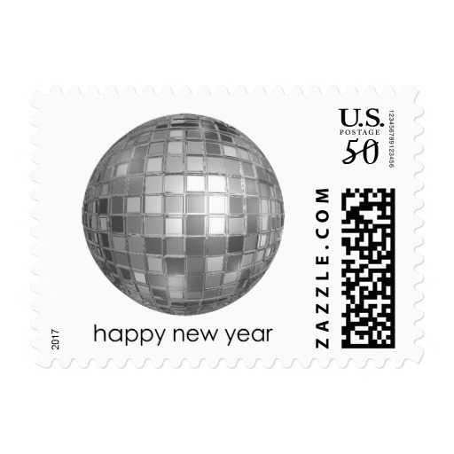 "Happy New Year Disco Ball Small, 1.8"" x 1.3"" Postage Stamp"