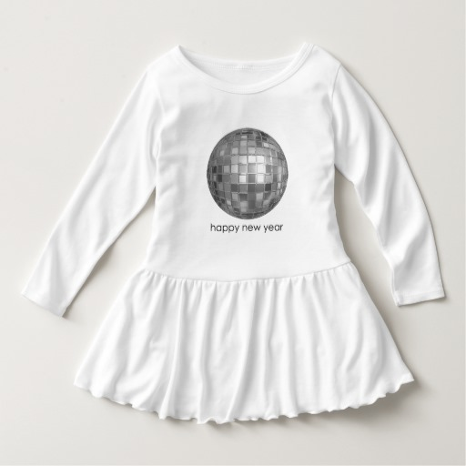 Happy New Year Disco Ball Toddler Ruffle Dress