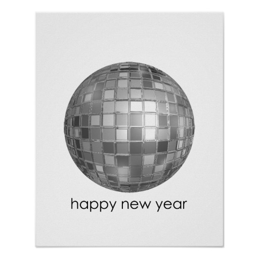 Happy New Year Disco Ball Value Poster Paper (Matte)