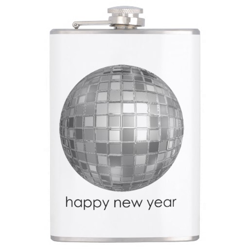 Happy New Year Disco Ball Vinyl Wrapped Flask, 8 oz.