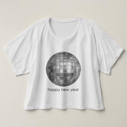 Happy New Year Disco Ball Women S Bella Canvas Boxy Crop Top T Shirt
