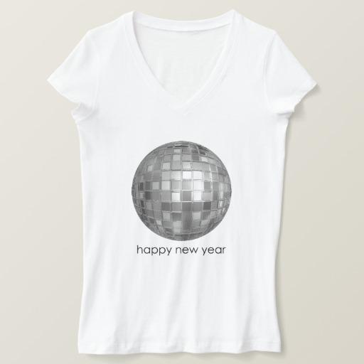 Happy New Year Disco Ball Women's Bella+Canvas Jersey V-Neck T-Shirt