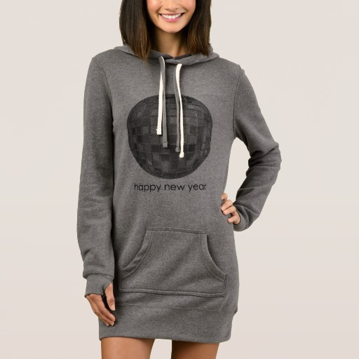 Happy New Year Disco Ball Women's Hoodie Dress