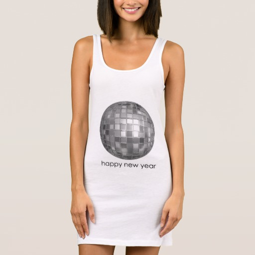 Happy New Year Disco Ball Women's Jersey Tank Dress