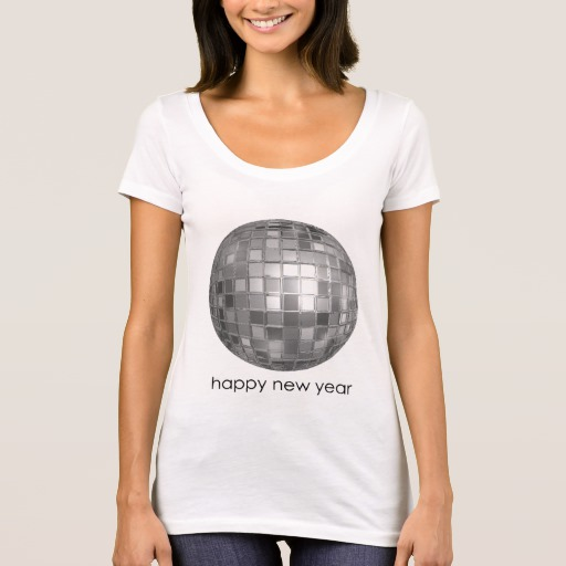 Happy New Year Disco Ball Women's Next Level Scoop Neck T-Shirt