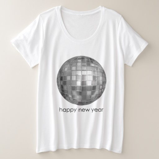 Happy New Year Disco Ball Women's Plus-Size Basic T-Shirt