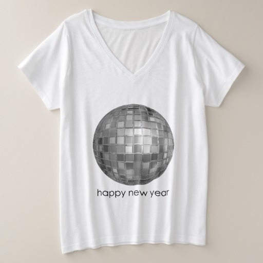 Happy New Year Disco Ball Women's Plus-Size V-Neck T-Shirt