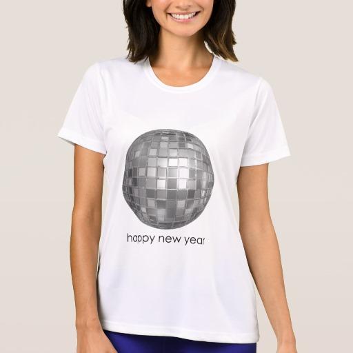 Happy New Year Disco Ball Women's Sport-Tek Competitor T-Shirt