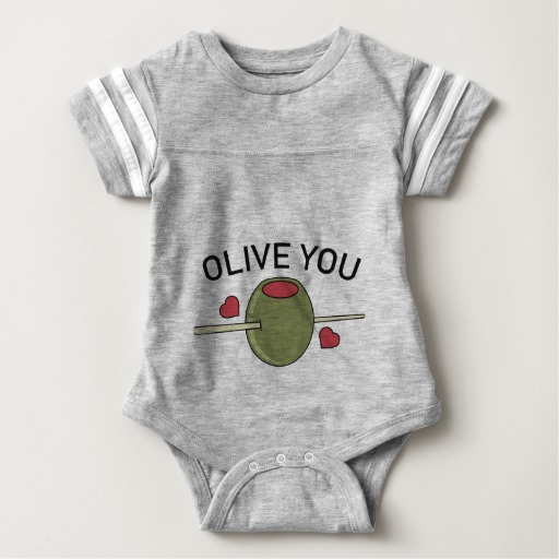 Olive You Baby Football Bodysuit