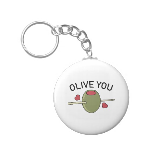 Olive You Basic Button Keychain