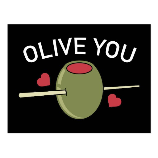 Olive You Black Postcard