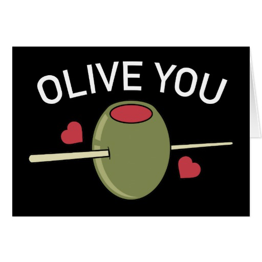 "Olive You Black Standard 5"" x 7"" Card"