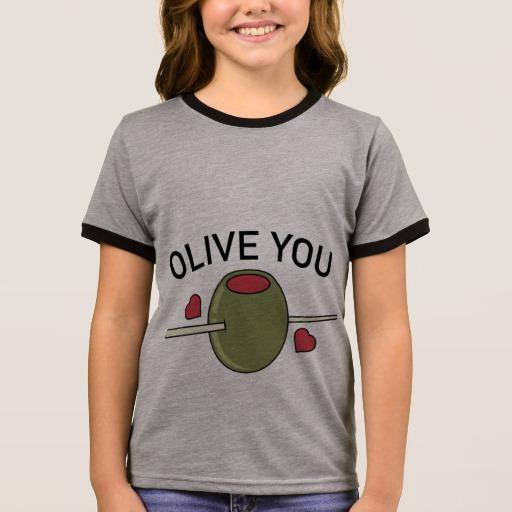 Olive You Girl's Ringer T-Shirt