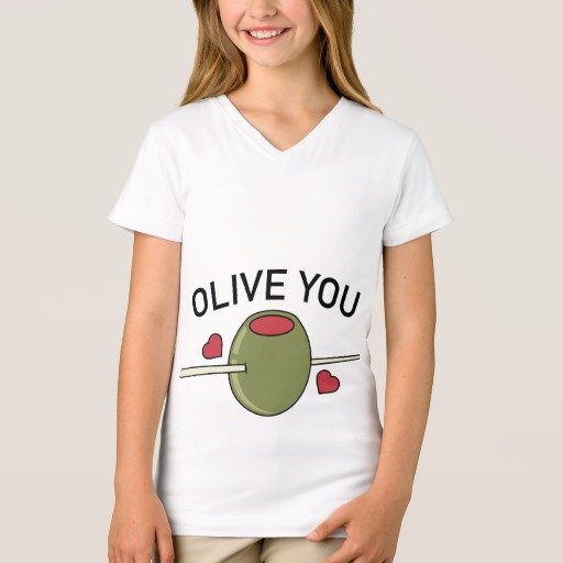 Olive You Girls' Fine Jersey V-Neck T-Shirt