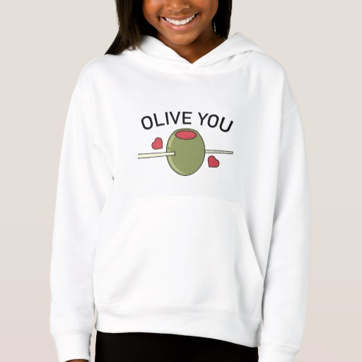 Olive You Girls' Fleece Pullover Hoodie