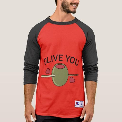 Olive You Men's Champion 3/4 Sleeve Raglan T-Shirt