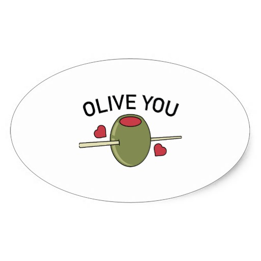 Olive You Oval Stickers