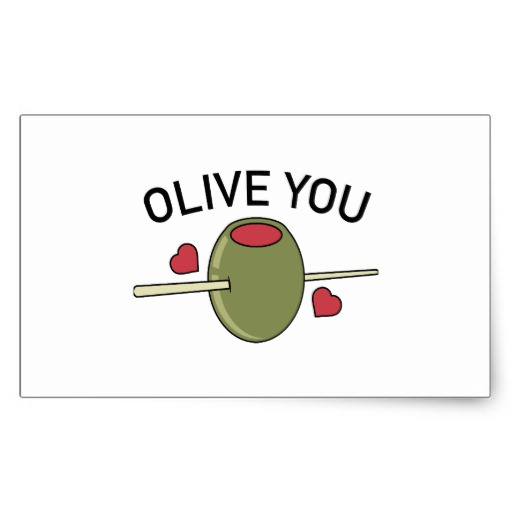 Olive You Rectangle Stickers