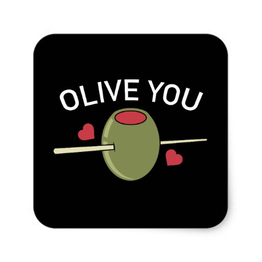 Olive You Square Paper Coaster