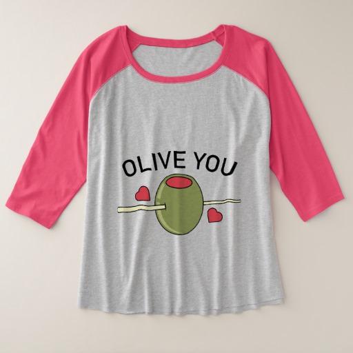 Olive You Women's Plus-Size 3/4 Sleeve Raglan T-Shirt