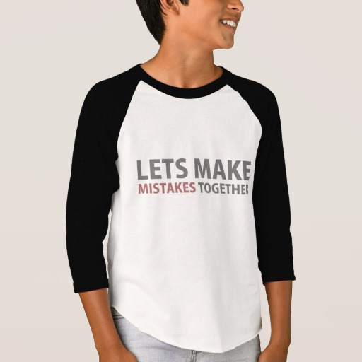 Lets Make Mistakes Together Boys' American Apparel 3/4 Sleeve Raglan T-Shirt