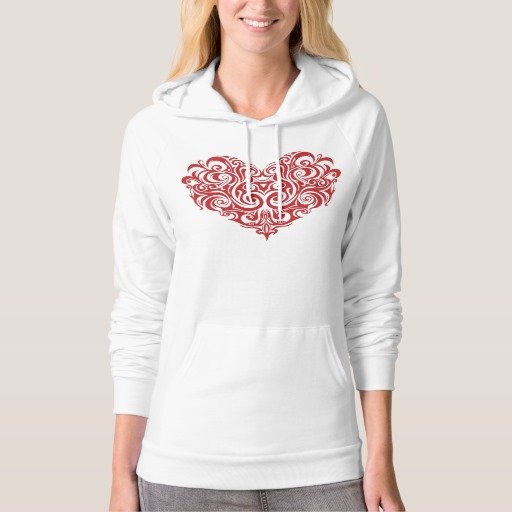 Ornate Valentines Day Heart American Apparel California Fleece Pullover Hoodie