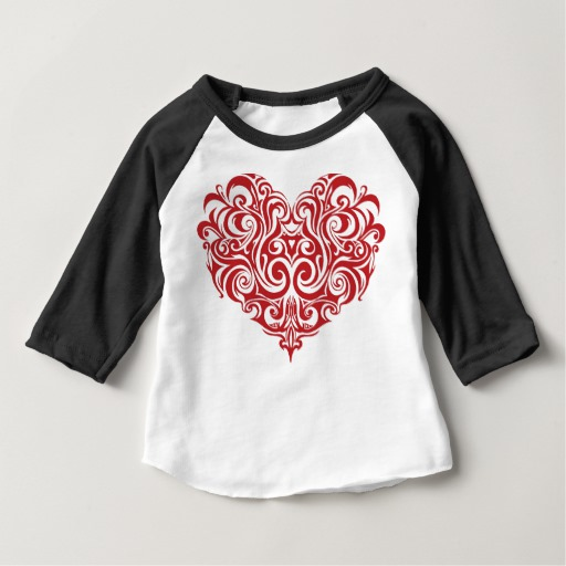 Ornate Valentines Day Heart Baby American Apparel 3/4 Sleeve Raglan T-Shirt