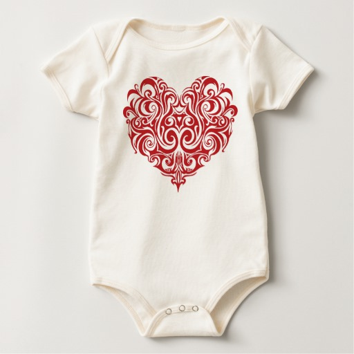 Ornate Valentines Day Heart Baby American Apparel Organic Bodysuit
