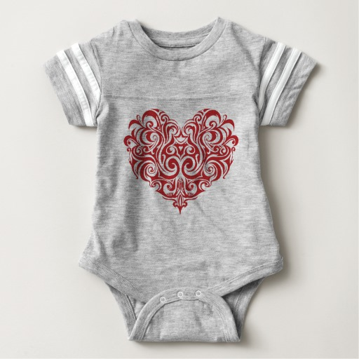 Ornate Valentines Day Heart Baby Football Bodysuit