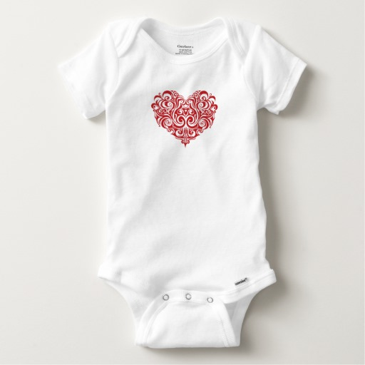 Ornate Valentines Day Heart Baby Gerber Cotton Onesie