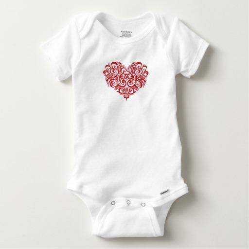 Ornate Valentines Day Heart Baby Gerber Cotton Onesie