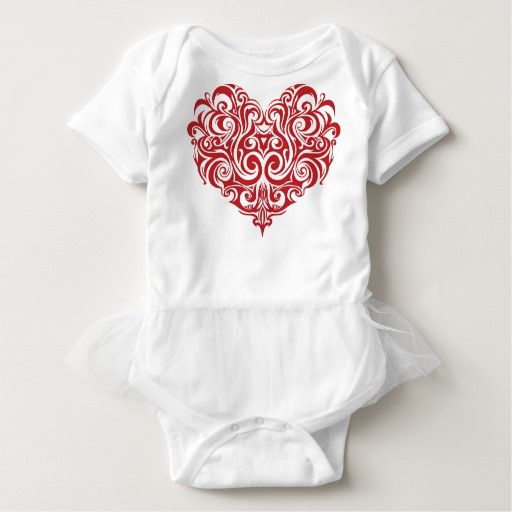 Ornate Valentines Day Heart Baby Tutu Bodysuit