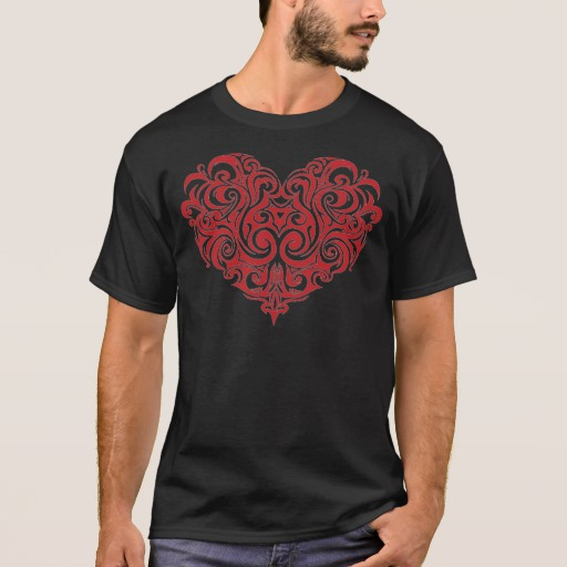 Ornate Valentines Day Heart Basic Dark T-Shirt