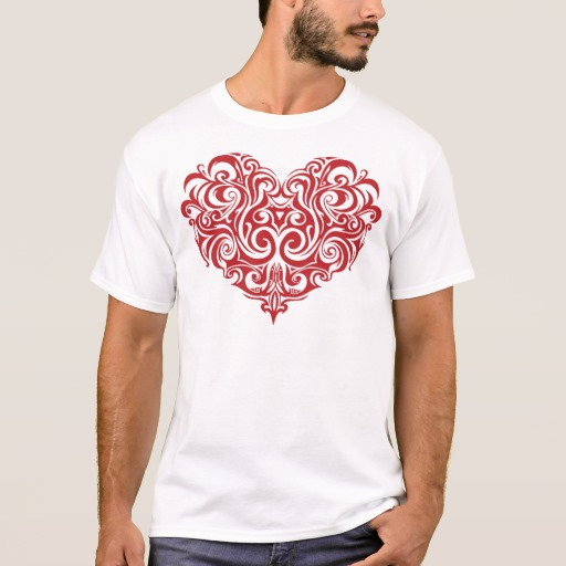 Ornate Valentines Day Heart Basic T-Shirt