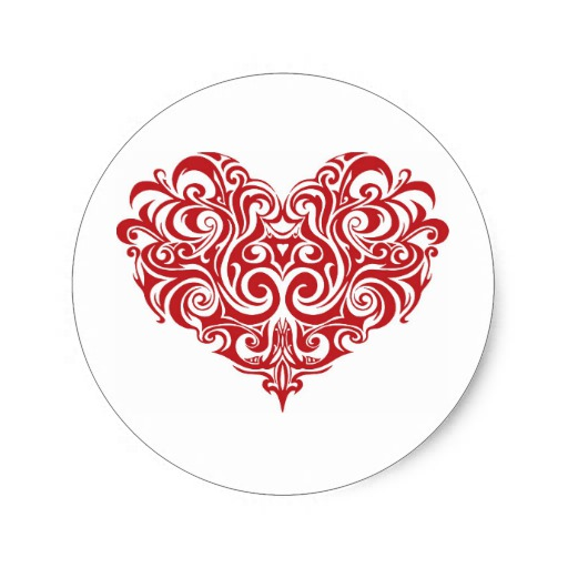 Ornate Valentines Day Heart Classic Round Sticker