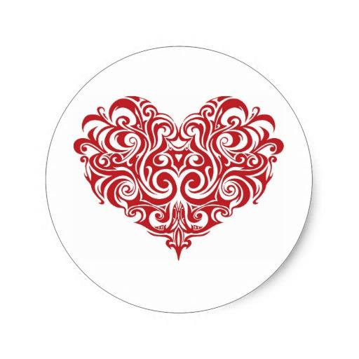 Ornate Valentines Day Heart Classic Round Sticker