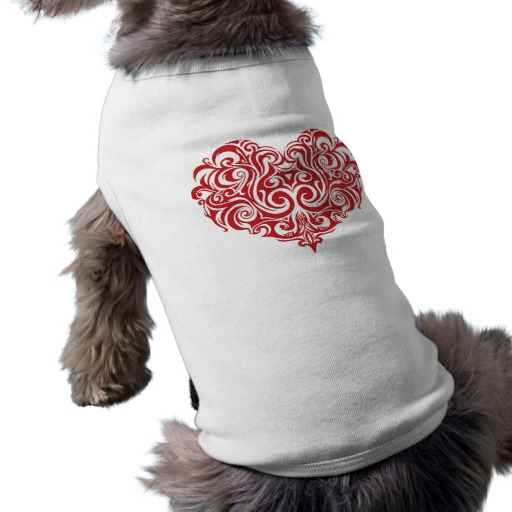 Ornate Valentines Day Heart Doggie Ribbed Tank Top