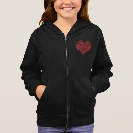 Ornate Valentines Day Heart Girl's Basic Zip Hoodie