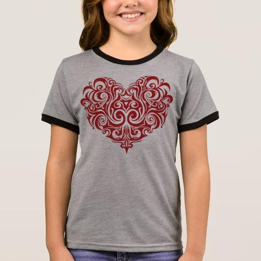 Ornate Valentines Day Heart Girl's Ringer T-Shirt