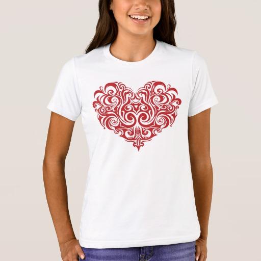 Ornate Valentines Day Heart Girls' Bella+Canvas Crew T-Shirt